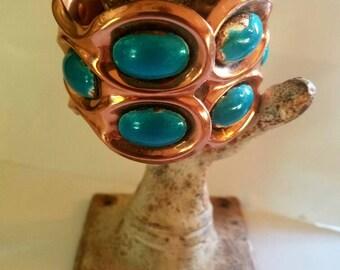Vintage Matisse Renoir Copper Teal enameled Hinged Cuff Bracelet