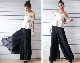 Vintage black chiffon layered wide leg palazzo trousers pants maxi skirt M L