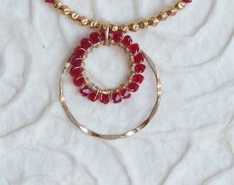 Garnet swarovski necklace, Womens Jewelry, wire wrap necklace, gold filled and garnet necklace, gift for her