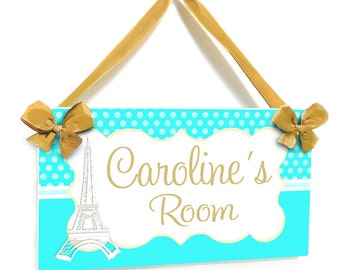 girls room please knock grey damask design door sign eiffel