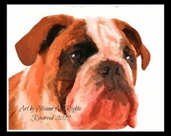 Affordable Custom Dog Portraits - Bull Dog -Hand created - I love dogs!