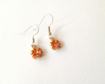 Pink flower earrings. Flower earrings. Linnepin010