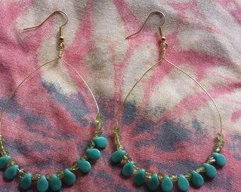 Gold Hoop Turquoise and Peridot Earrings