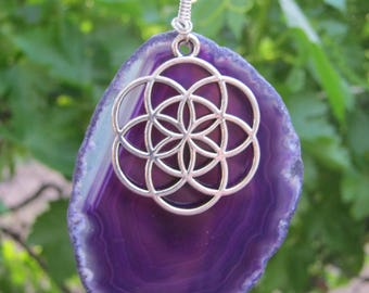 Flower of Life Geode Necklace, LARGE Sacred Geometry Necklace, Banded Purple Agate Gemstone Necklace, Yoga Jewelry Gift, Choose Length, GP2