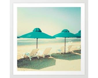 Beach print, canvas art, beach art, beach canvas, beach umbrella art, beach wall art, large art, large wall art, large beach print