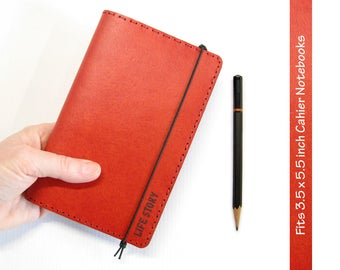 Red Leather Cahier Cover w/ Engraved Personalization - Moleskine Cover / Field Notes Cover - Fits 3.5 x 5.5 inch Cahier Notebooks