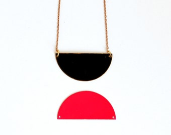 Black Half Circle Necklace.              Reversible Geometric Necklace.     Minimal Modern Jewelry with a Charitable Donation