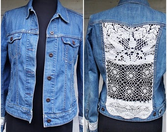 Upcycled Jean Jacket with Crochet Doily Insert Cut-out Back Panel - Sz M - Please Read Description Detail