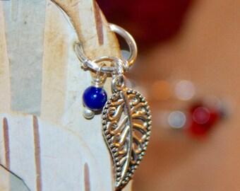 Cartilage Earring, Leaf Cartilage Earring, Gemstone Ear Jewelry, Daith, Rook, Tragus, Snug, Helix, Forward Helix, Blue Cartilage Earring