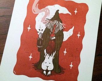 Letterpress Art Print - Wizard