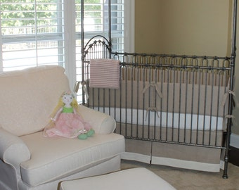 LINEN Crib Skirt and Bumper Set- Natural and Ivory- Restoration Hardware Inspired- Choose Your Own Colors