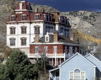 Western Mining Town School Hotel House Buildings Virginia City Nevada, Original Photograph, Fine Art Photography matted & signed 5x7 print