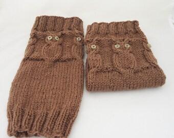 Hand Knitt Women Legwarmer, Owl Legwarmer, Gaiter, Brown Owl Legwarmer, Asseccories