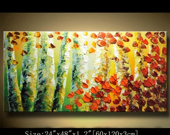 contemporary wall art, Palette Knife Painting,colorful tree painting,wall decor  Home Decor,Acrylic Textured Painting ON Canvas by Chen 0511
