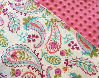 Baby Car Seat Canopy COVER or NURSING Cover: Soft Paisley Flannel with Pink Minky, Personalization Available