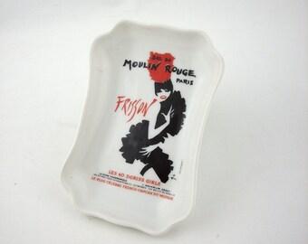 Vintage Moulin Rouge Limoges France Trinket Dish, Poster Art Rene Guau, Porcelaines Florence