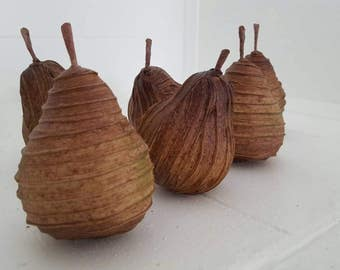 Paper mache pears, set of 6