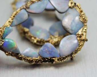 opal earrings, opal hoops, boulder opal, druzy earrings, gold earrings, statement earrings, gifts for her, fire opal, gold hoops