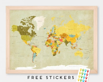 World Map Poster Vintage  - Travel World Map - Stickers Included  - Gift Idea