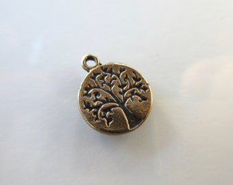 Tree of Life charm 100% Pure Bronze 10mm round-- bronze tree of life bracelet charm spiritual sacred tree TREE01-B