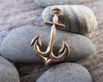 Anchor charm 100% Pure Bronze 14mm x 21mm nautical pendant bronze beach charm ocean charm AN02-B