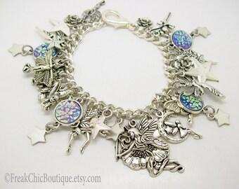 Fairy Charm Bracelet, Fairy Jewellery, Fairy Charm, Silver Fairy Charm Bracelet, OOAK, Gift For Her