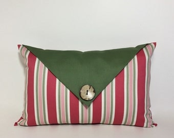 Decorative flap lumbar pillow cover, olive green decor. button envelope flap accent. rose pink and green decorative pillow. home decor
