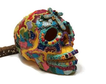 Mosaic Sugar Skull, Day of the Dead Skull, Folk Art Skull, Sugar Skull, Home Decor, Halloween Skull, Religious Mexican Art Skull, Cross