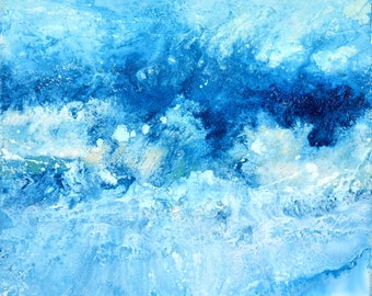 ART seascape Original Art by Caroline Ashwood - Textured and contemporary abstract painting on canvas - Free Shipping