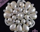 Brooch - Pearl Brooch Pin - Rhinestone Pearl Brooch - Pearl and Crystal Brooch - Elegant Pearl Brooch