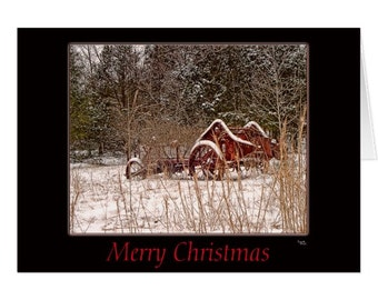 Merry Christmas Outdoor Snowy Greeting Card