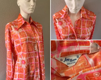 vintage 60s 70s floral and checkered button up shirt daisies womens shirt hippie boho disco hipster neon dayglo day glow Amy Barr