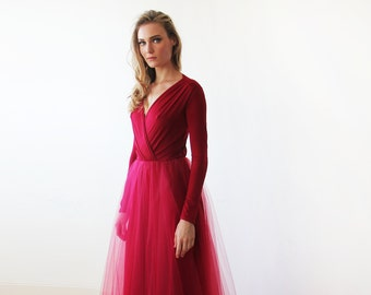 Bordeaux maxi length tulle gown with long sleeves , Bordeaux bridesmaids tulle gown 1066