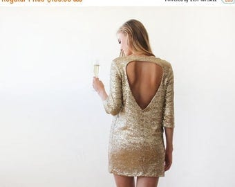Spring Sale Swanky gold sequins mini dress with open back, Gold Sequins mini party dress 1132