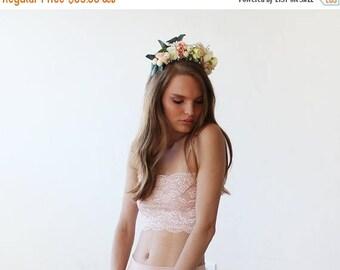 30% OFF - Blush Birthday Flowers headpiece, Bridal flowers hair accessory, Wedding hair accessory 4010