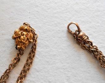 1910 Art Nouveau Pocket Watch Vest Slide Link Chain 48 Inches