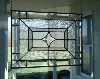 "Beveled Star & Clear Textures Stained Glass Window Panel Size 16 3/8"" x 12 3/8"""