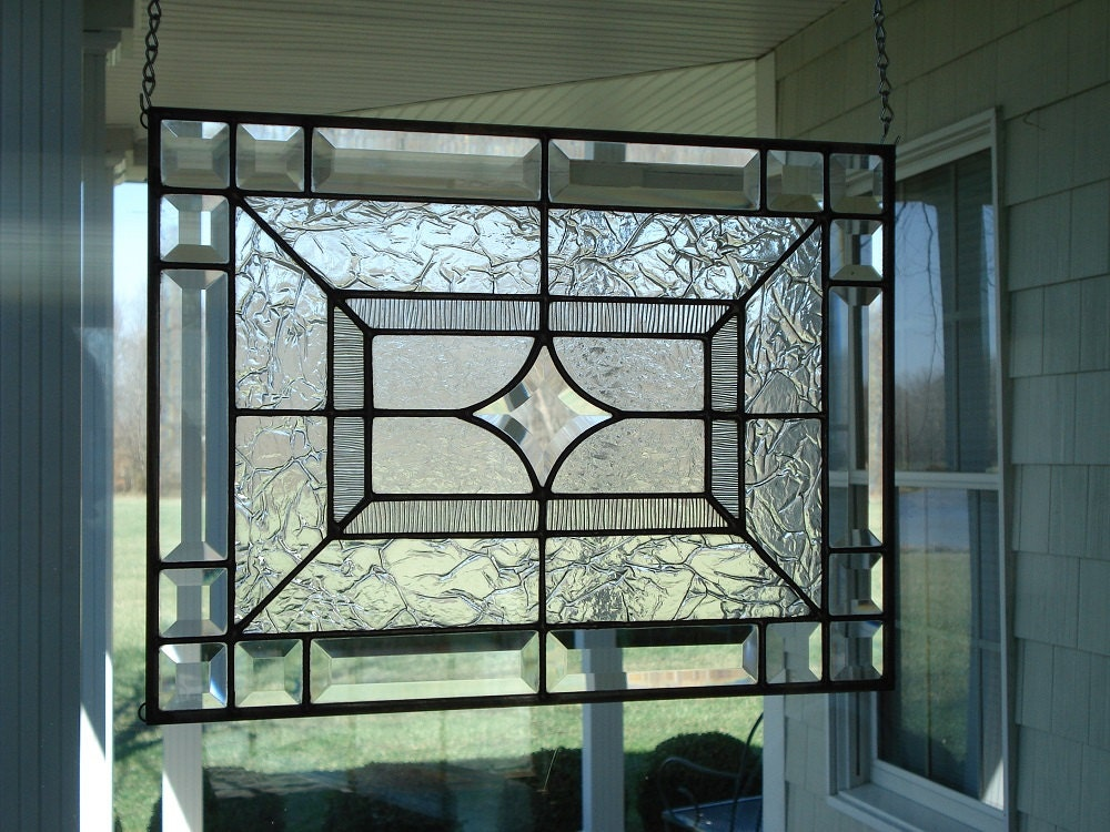 Clear Glass Windows : Beveled star clear textures stained glass window panel size