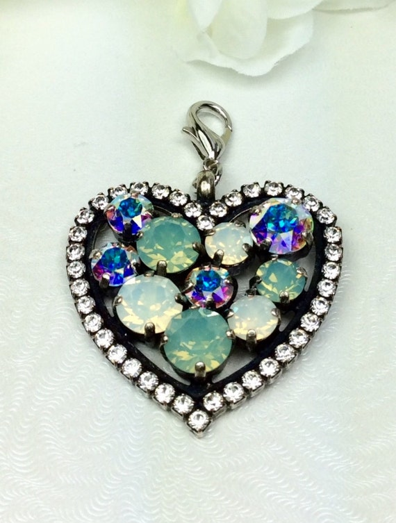Swarovski Crystal - Heart Shaped  -  Add-On Charm - Pretty in Pacific Opal, White Opal, and Aurora  Borealis +++ FREE SHIPPING - SALE - 35.