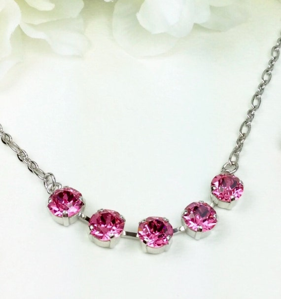 Swarovski Crystal 8.5mm Necklace - Designer Inspired - Five Stone Necklace - Your Choice Of Crystal Color - FREE SHIPPING