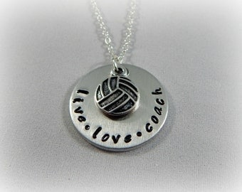 Volleyball Coach Necklace - live love coach - Hand Stamped Volleyball Jewelry - Gift for Volleyball Coach - kg59987