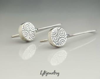 Silver Hollow Form Earrings, Silver Dangle Earrings, Silver Drop Earrings, Textured Silver Earrings, Metalsmith Jewelry Handmade Art jewelry