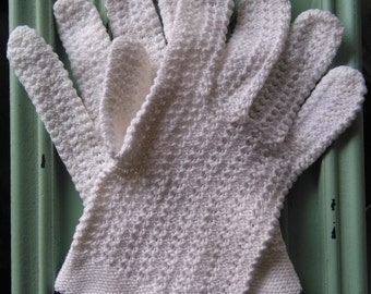 Vintage pure white knit gloves sz sml