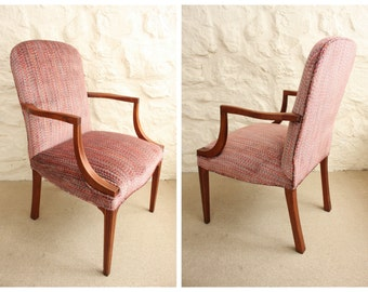 Set of 6 Vintage Kittinger Upholstered Dining Chairs - Modern Traditional Refinished Restored Reupholstered