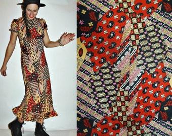 1970s Patchwork Paisley Floral Print Empire Waist Long Dress