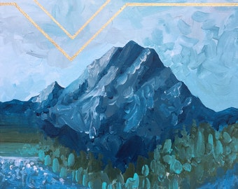 Original Mountain Painting on Canvas // 'Mt. Rainier Blues'