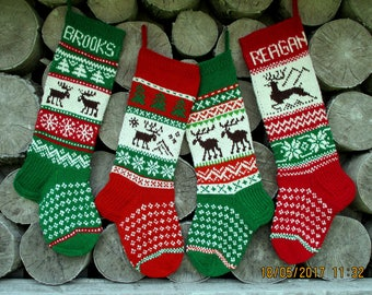 Christmas Stocking Personalized Hand knit Wool Stocking Gray Grey Green Red White Blue with  Deer Snowflakes Trees  Christmas decoration
