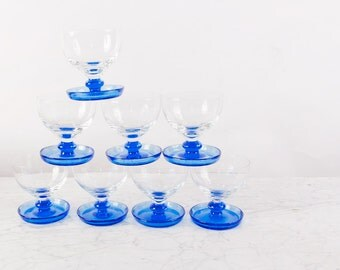 Sherbet Glasses Set of 8! / Midcentury Glass Sherbet Set / Mid Mod Dessert Bowl / Dessert Bowl Set