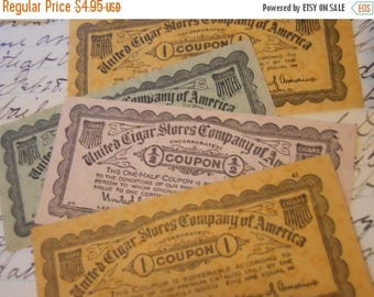 ON SALE 6 Antique 1920s-1930s Cigar Coupons