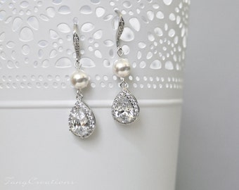 Bridal Earrings, Wedding Jewelry, Swarovski Pearls Cubic Zirconia Statement Teardrop Wedding Earrings, White Cream Bridal SANDIE